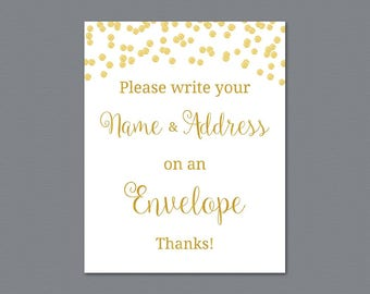 Name and Address Wedding Sign, Envelope Sign, Please Write Your Name and Address on the Envelope, Gold Confetti Bridal Shower, A002