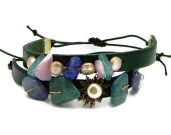 Leather and Gem Bracelet| Aquamarine, Tanzanite, Morganite Latte Coin Pearl Bracelet| Gemstone and Pearl Bracelet| Adjustable Bracelet