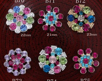 Vintage flowers/round Colorful Rhinestone Buttons Bling Alloy Crystal Flatback Flower Centre Buttons for Hair accessories