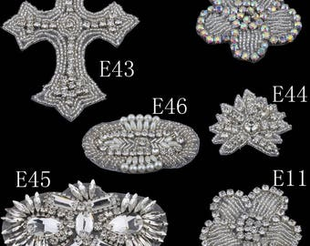 Handmade Bling Sew On Hot Fix Beaded Crystal AB Rhinestone Applique for Wedding Ornaments Baby Girl Hair Accessories