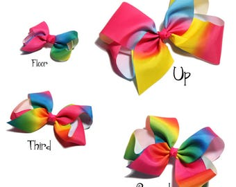 Four size Newborn Fashion Dovetail Rainbow Hair Bows for Hair Clips Handmade Gradient Color Hairbows for Girls Hair Accessories NO CLIP