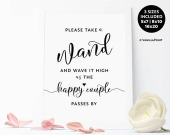 Wedding Wand Sign, Wedding Wands, Wedding Ribbon Wands, Wedding Send Off Ideas, Wedding Ceremony Sign Wedding Printable Signs, Send Off Sign
