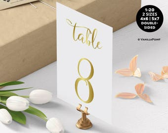 Wedding Table Numbers, Gold Table Numbers For Wedding, Table Numbers Wedding Gold Table Numbers Printable Table Number Cards Signs, 1-20