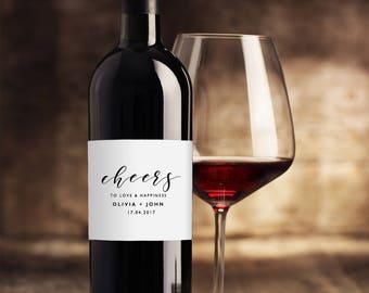 Wedding Wine Label Template, Printable Wine Labels, DIY Wine Bottle Labels, Wedding Wine Labels, Editable Wine Labels For Weddings KPC01_209