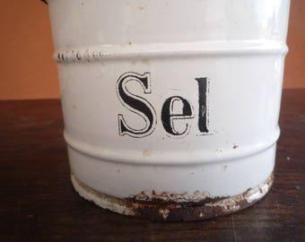 Salt Box Enamelware Container Farmhouse style