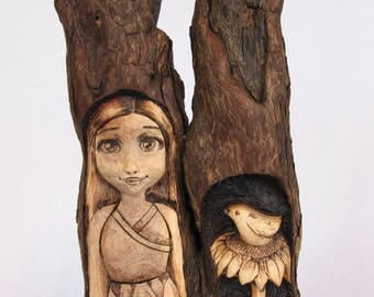 Wood Spirit with Sunflower