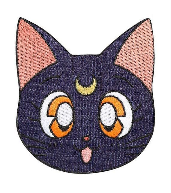 Sew on Badge Costume Souvenir Luna Cat Sailor Moon Logo Patch Embroidered Iron