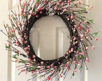 Spring wreath for front door, Berry leaves wreath, Summer wreath for front door, Everyday wreath,Summer door wreath