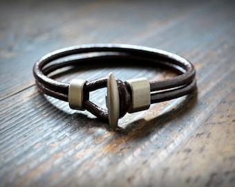 Men Leather Bracelet Mens Bracelet Dark Brown Mens Bracelet Gift For Him