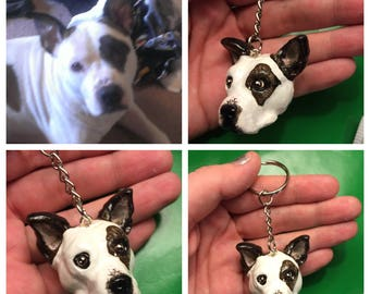 Custom pit bull keychain, custom bully key chain, personalized pitbull gift, pit bull Valentine's day gift, pitbull lover gift