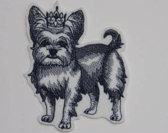 Dog in Crown Iron-on Patch. Embroidered Patch. Sew-On Patch.