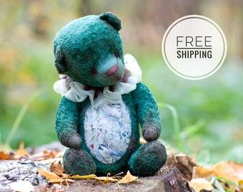 Bear Teddy Green bear Artist teddy bear Plush toy bear Collection toy Gift for woman Bear with flowers Plush teddy bear Toy bear ooak Teddy