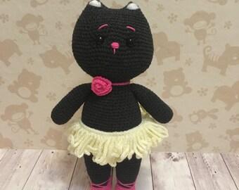 Crochet cat, cat, cat toy, cat amigurumi, ballerina, crochet ballerina, ballerina toy, black cat, stuffed cat, soft cat, stuffed toy,crochet