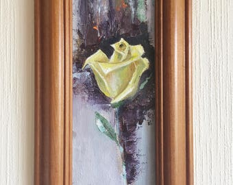 Yellow Rose Painting Oil Canvas /Rose Painting on Canvas / Yellow Flower Painting / Single Rose Art