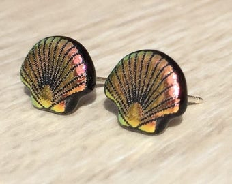 Dichroic Fused Glass Stud Earrings - Pink Scallop Shell Laser Engraved Etched Studs with Solid Sterling Silver Posts