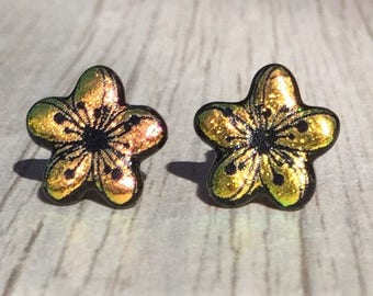 Dichroic Fused Glass Stud Earrings - Pink Yellow Plumeria Flower Laser Engraved Etched Stud Earrings with Solid Sterling Silver Posts