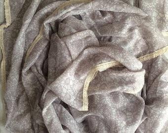 Printed scarf cream ivory vintage crochet lace hijab shawl wrap sarong