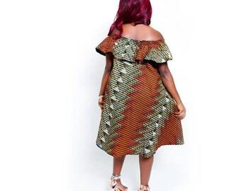 Nishan Ruffles Slash Neck Dress