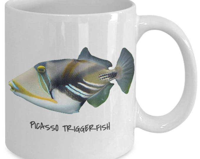 Featured listing image: Picasso Triggerfish - Tropical Fish Ceramic Mug Collection - Great Gift For Scuba Divers