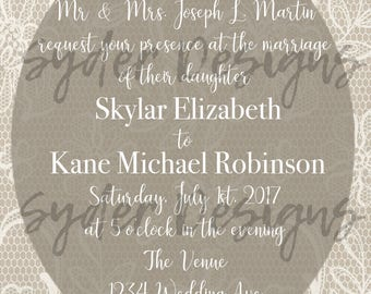 Ivory, Gray & Lace Custom Wedding Invitation