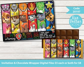 Paw Patrol Personalised Digital Birthday Invitation & Chocolate Candy Bar Wrapper Printable DIY