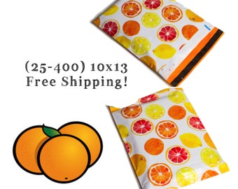 "FREE SHIPPING! (25-400 Pack) 10x13"" Citrus Fruit Designer Poly Mailers"