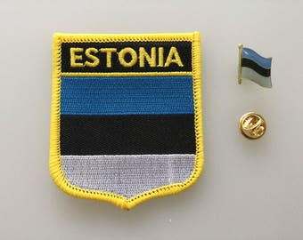 Estonia Shield Country Flag Embroidered Patch and Pin Badge Set