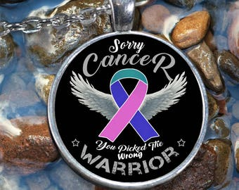 Thyroid Cancer Awareness Charm Warrior Necklace Teal Pink Blue Ribbon Men Women Gift Pendant Silver Plated Fashion Jewelry Accessories