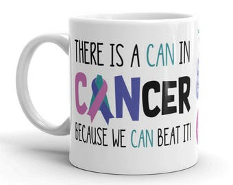 Thyroid Cancer Awareness Coffee Cup Can Beat It Novelty Ceramic Mug Teal Pink Blue Ribbon Custom Gift Survivor Support 11 & 15 ounce