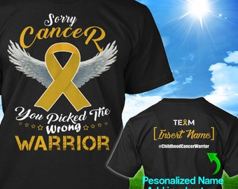 Personalized Childhood Cancer Awareness Tshirt Gold Ribbon Warrior Support Survivor Custom T-shirt Apparel Unisex Women Youth Kids Tee
