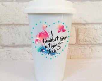 Funny Travel Mug, Travel Cup, Flamingos, Eco Friendly Gifts, Ceramic Travel Mug, Flamingo Gifts, Travel Mug With Lid, Ceramic Coffee Cup.