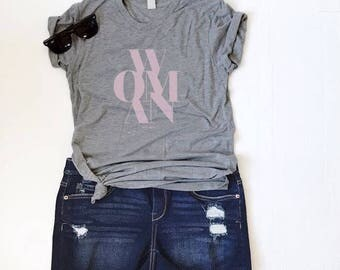 Woman Graphic Tee - Women's Slim Fit Tee - Female Shirt - Feminist Tee - Pink on Grey or White - Soft Tee