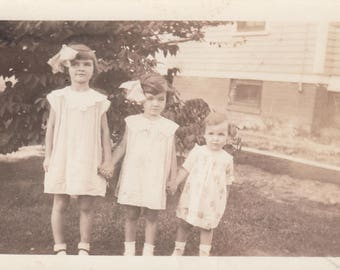 Vintage Photo Cute Children Sisters Antique Vernacular Found Photography Black & White Art Snapshot Kid Fashion Design Decoration