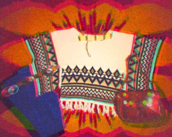 70's Native Spirit Knitted Poncho