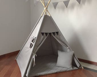 grey teepee tipi tent with black pennants playtent play ready to ship kids wigwam children birthday gift christmas bday child room
