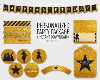 Personalized Digital Hamilton Inspired Birthday Party Package: Printable Banner, Favor Tags, Cupcake Toppers, Wrappers, Straw Flags, Cards
