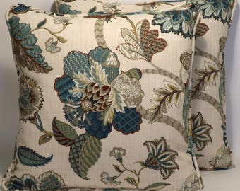 "Cream Floral Throw Pillows, Decorative Pillows,2 18"" P. Kaufmann Finders Keepers Jacobean Floral  Designer Throw Pillows &  Forms,Home Decor"