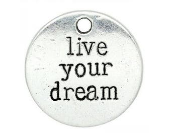set of 5 engraved round charms live your dream live your dreams Silver (18)