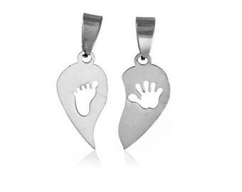 set of 2 separate charms hand and foot medal engraved silver stainless steel (D11)