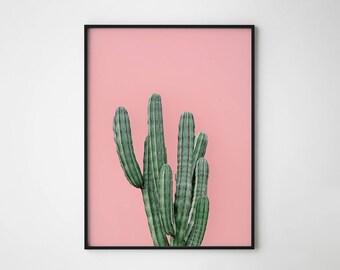 Cactus print, Pink cactus print, Scandinavian print, Pink and green, Summer print, Nature print, Cactus poster, Fun print, Hipster print