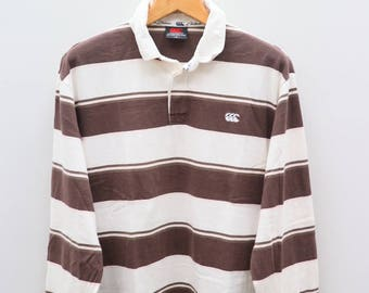 Vintage CANTERBURY Of New Zealand Stripes Brown And White Rugby Polos Shirt Size XXXL