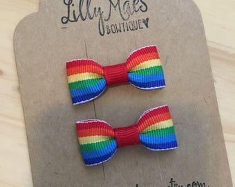 Rainbow Mini Tuxedo Hair Bows, baby toddler hair clip, mini bow, dog bow