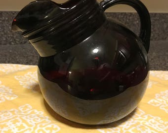 Vintage Ruby Red Glass Pitcher