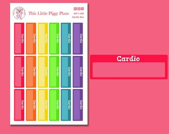 Rainbow Cardio Boxes - Functional Planner Stickers - Fitness Stickers - Exercise Stickers - Workout Stickers - Cardio - Run - [WO 1-16R]