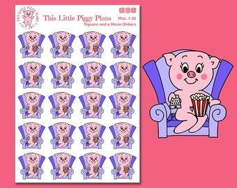 Popcorn and a Movie Oinkers - Popcorn Stickers - Movie Time Stickers - Netflix and Chill - Date Night - Movie Night - Watch TV - [Misc1-35]