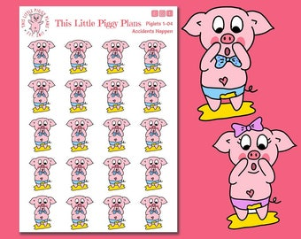 Accidents Happen - Potty Training Planner Stickers - Kids Stickers - Parenting Stickers - Potty Time - Accident Stickers - [Piglets 1-04]