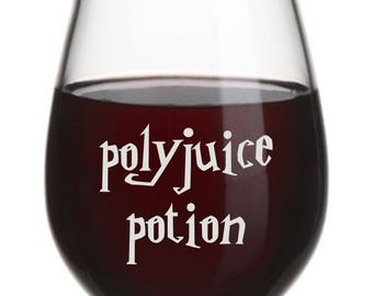 polyjuice potion, Funny Wine Glass, Stemless Wine Glass, Funny Gift