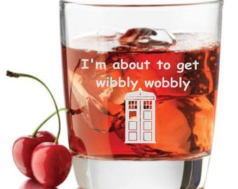 Dr.Who inspired Wine Glass,Wibbly Wobbly Rocks glass, Whiskey glass Doctor Who glass Dr doctor Who Inspired,Tardis, Timelord,Custom engraved