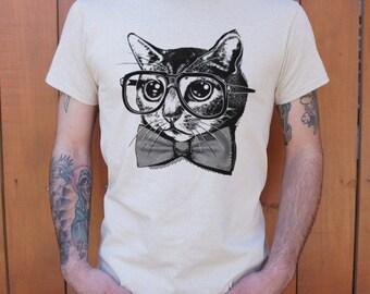 Men High Quality nerd cat Silk T-Shirts Shipped Daily all sizes high quality