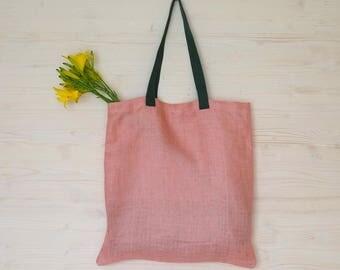 Pink Linen Bag, Eco Bag, Pink Tote Bag, Tote Bag, Canvas Bag, Linen Tote, Reusable Bag, Reusable Tote, Eco Friendly Bag, Shoulder Tote Bag
